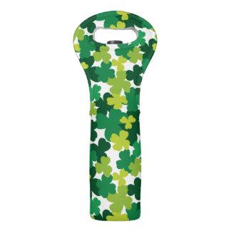 St. Patrick's Day Shamrock Pattern Wine Bag