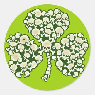 St Patricks Day Shamrock Skulls Round Sticker