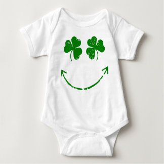 St Patrick's Day Shamrock Smiley face humor Baby Bodysuit