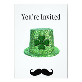 St. Patrick's Day Shamrock Sparkle Hat & Mustache 13 Cm X 18 Cm Invitation Card