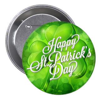 St. Patrick's Day - Shamrock & Word Art 7.5 Cm Round Badge