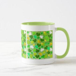 St. Patrick's Day Shamrocks and Hearts Mug