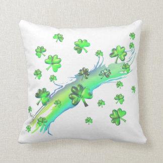 St Patricks Day Shamrocks Design Throw Pillow