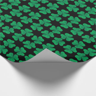 St. Patrick's Day Shamrocks on Black Wrapping Paper