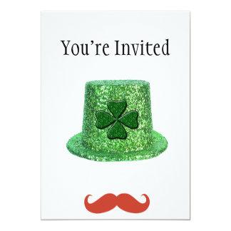 St Patrick's Day Sparkle Hat & Ginger Mustache 13 Cm X 18 Cm Invitation Card