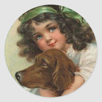 St. Patrick's day sticker with Irish lass and dog