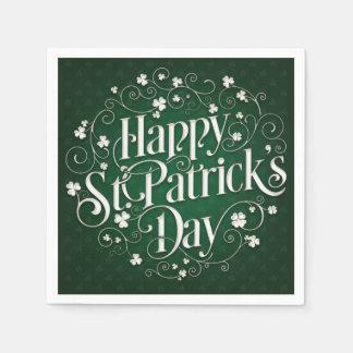 St. Patrick's Day - Swirled Word Art Disposable Napkin