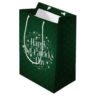 St. Patrick's Day - Swirled Word Art Medium Gift Bag
