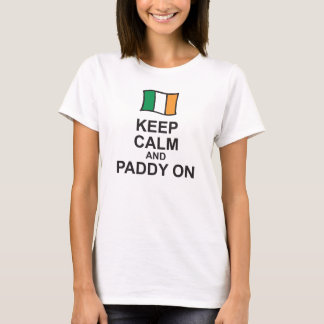 St Patricks Day T-Shirt KEEP CALM and PADDY ON fla