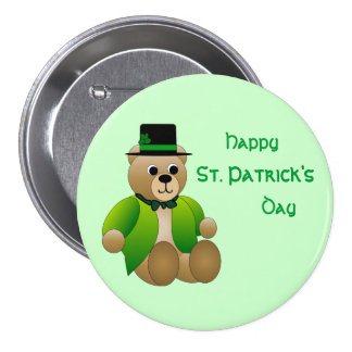 St. Patrick's Day Teddy Bear Button