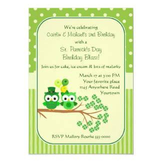 St. Patrick's Day Twins Birthday Owl 13 Cm X 18 Cm Invitation Card