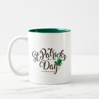 St. Patrick's Day Typography. Leprechaun Hat. Two-Tone Coffee Mug