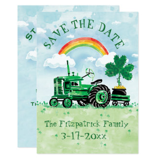 St. Patrick's Day Vintage Tractor Save the Date Card