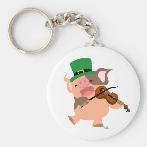St Patrick's Day violinist pig keychain
