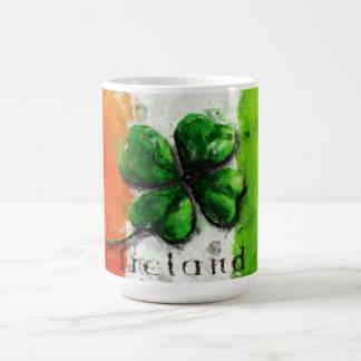 St. Patrick's Day - Watercolor Clover Ireland Flag Coffee Mug