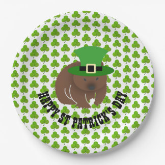 St Patrick's Day Wombat Paper Plate