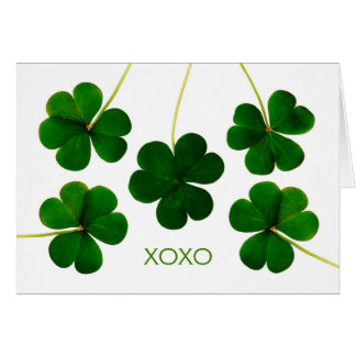 St. Patrick's Day, XOXO Lucky Shamrocks Photograph Greeting Card