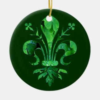 St. Patrick's Fleur de lis Round Ceramic Decoration