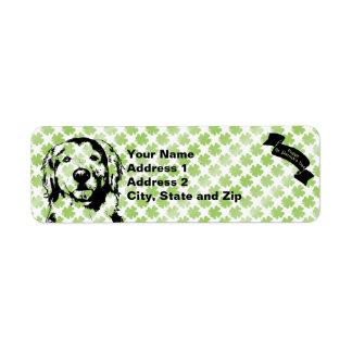 St Patricks Golden Retriever Silhouette - Corona Return Address Label