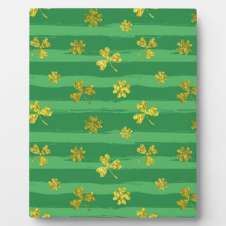 st patricks golden shamrocks plaque