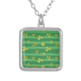 st patricks golden shamrocks silver plated necklace