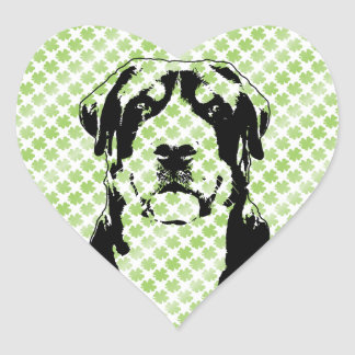 St Patricks Greater Swiss Mountain Dog Silhouette Heart Stickers