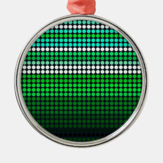 St. Patricks Green Grid Silver-Colored Round Decoration