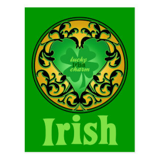 St. Patrick's Heart Lucky Charm Post Card