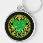 St. Patrick's Heart Lucky Charm Silver-Colored Round Key Ring