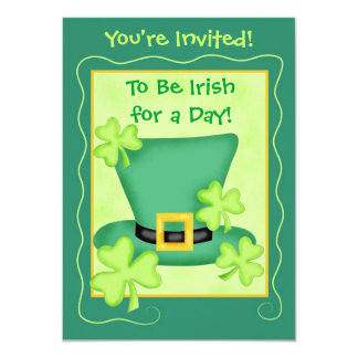 St. Patrick's Irish for a Day Party 11 Cm X 16 Cm Invitation Card
