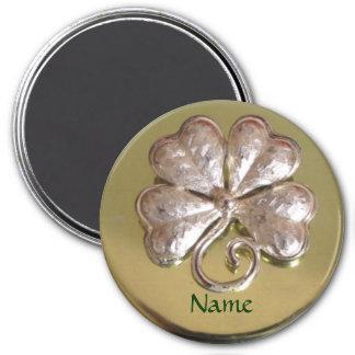St. Patricks Irish Last Name Magnet! Gold 7.5 Cm Round Magnet