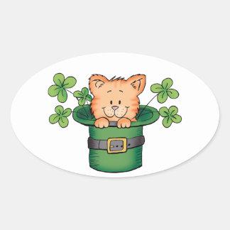 St. Patricks Kitty Oval Sticker