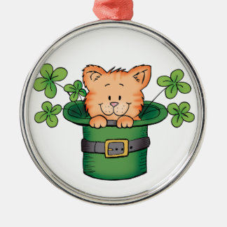 St. Patricks Kitty Silver-Colored Round Decoration