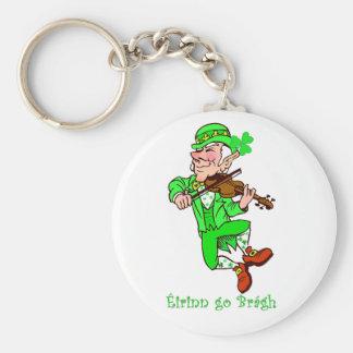 St. Patrick's Leprechaun playing fiddle Key Ring