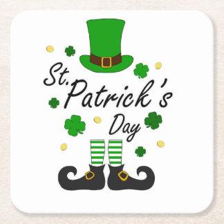 St Patricks Leprechaun Square Paper Coaster