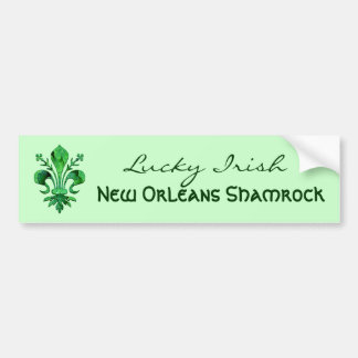 St. Patrick's Lucky Fleur de lis Car Bumper Sticker
