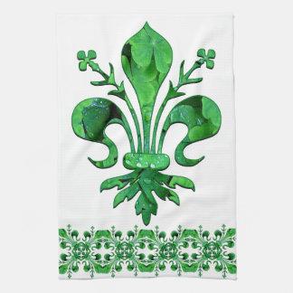 St. Patrick's Lucky Fleur de lis kitchen towel 2