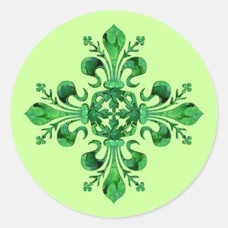 St. Patrick's Lucky Fleur de lis Round Sticker