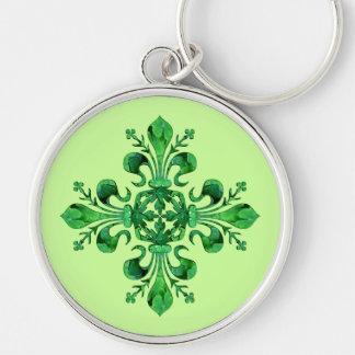 St. Patrick's Lucky Fleur de lis Silver-Colored Round Key Ring