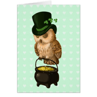 St. Patrick's owl Leprechaun guardian Card