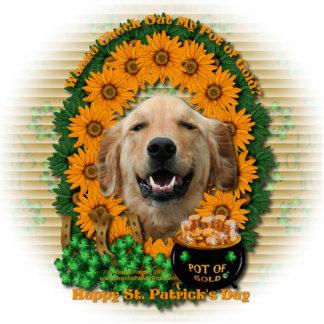 St Patricks - Pot of Gold -Golden Retriever Mickey Standing Photo Sculpture
