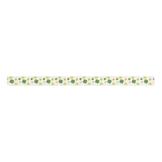 St Patrick's ribbon with clovers Grosgrain Ribbon