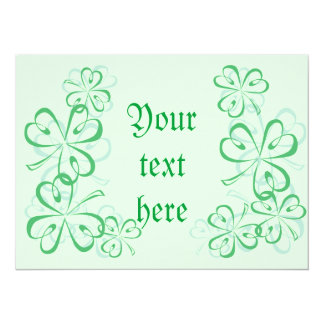 St Patrick's shamrock 14 Cm X 19 Cm Invitation Card