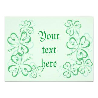 St Patrick's shamrock 14 Cm X 19 Cm Invitation Card