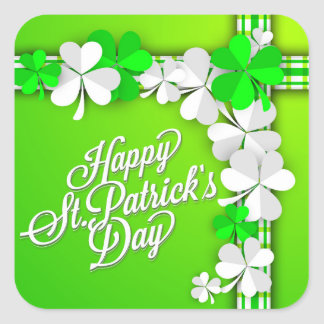 "St. Patrick's ""Shamrocks/Ribbon"" Happy St Patricks Square Sticker"