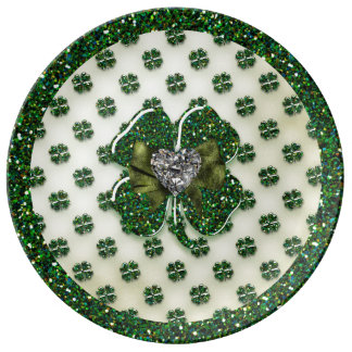 St. Patrick's Sparkly Shamrock with Heart Plate