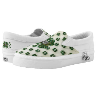 St. Patrick's Sparkly Shamrocks with Heart Printed Shoes