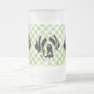 St Patricks - St Bernard Silhouette Frosted Beer Mugs