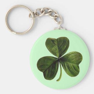 St. Patrick's Three Leaf Clover Basic Round Button Key Ring