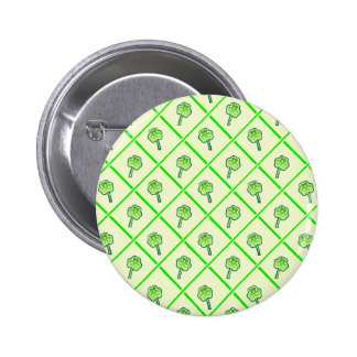 St. Patrick's wallpaper with shamrocks and squares Pinback Button